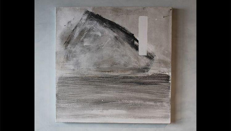 La Montagne - technique mixte sur toile 91 x 91 cm
